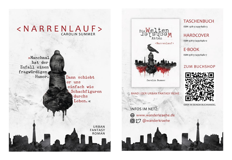 Flyer Narrenlauf (Die WeltenWechsler Akten) Urban Fantasy Roman