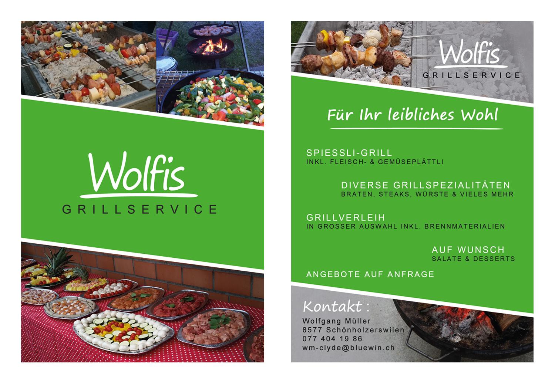 Werbeflyer zu Wolfis Grillservice mit Angebot und Bildern