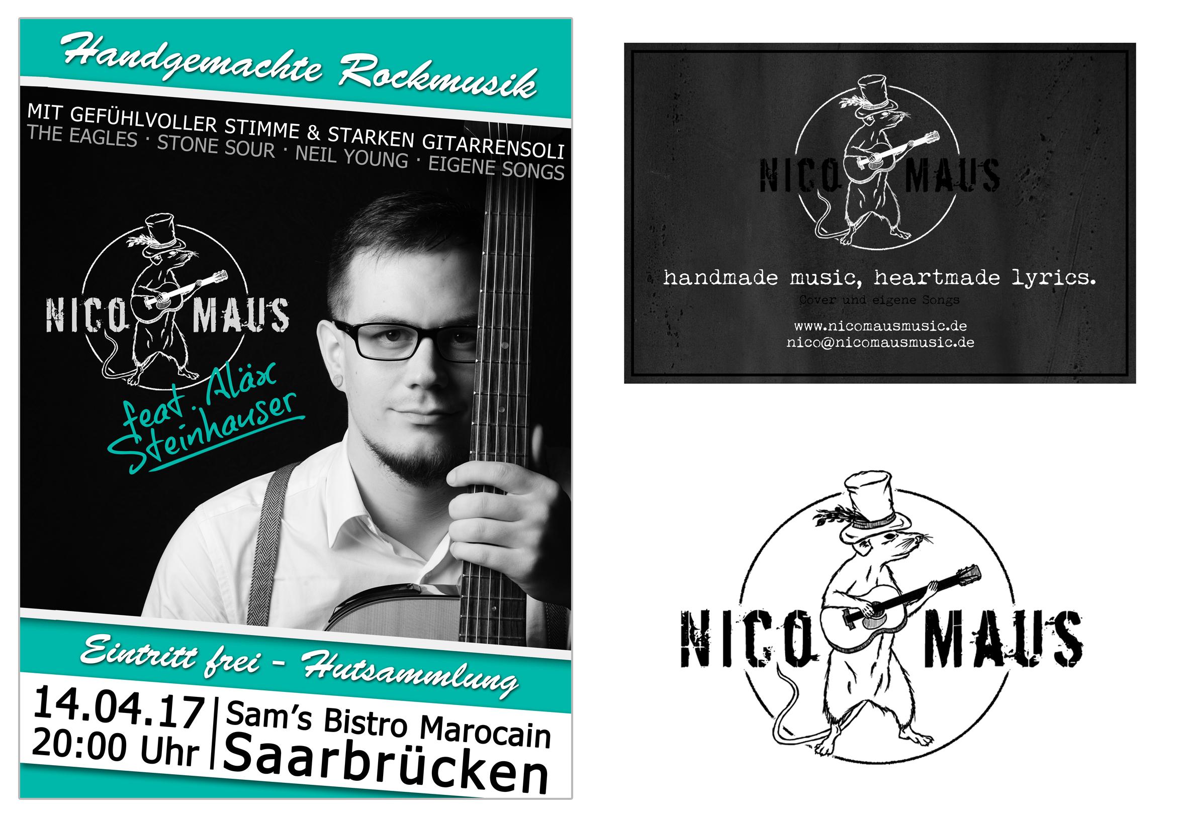 Plakat Flyer und Logo von Nico Maus Music