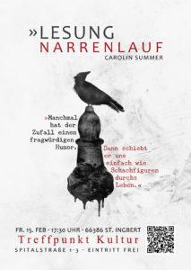"""Lesung """"Narrenlauf"""" Carolin Summer, Treffpunkt Kultur St. Ingbert. Urban Fantasy"""