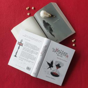 """Buch """"Ascheseelen"""" mit Aquarell-Geister-Illustration (Silhouette einer schwebenden Gestalt mit Kapuze)"""